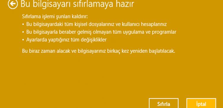 Windows 10 Bilgisayar Sıfırlama