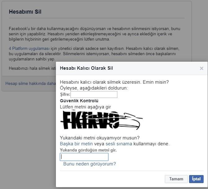 facebook hesabi kalici olarak sil - Facebook Hesap Silme