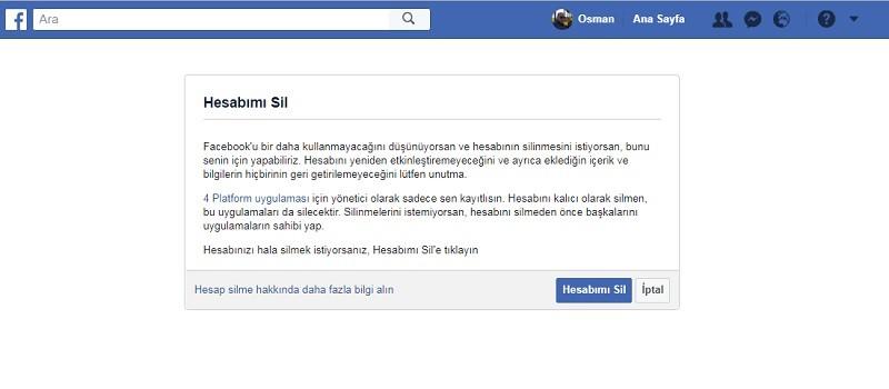 facebook hesap silme linki sayfasi - Facebook Hesap Silme