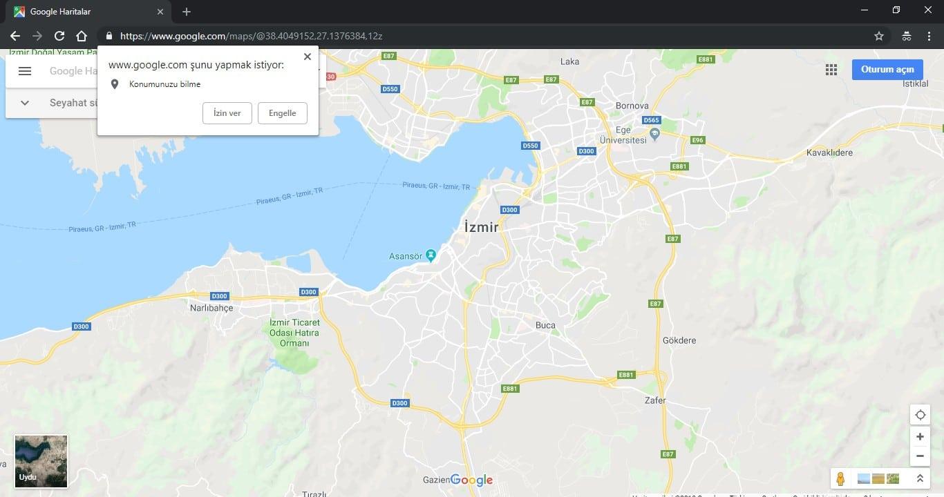 Google Haritalar Konum Izni