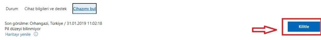 Kilitle 1024x129 - Kaybolan Windows 10 PC`yi Uzaktan Kilitleme