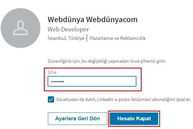 LinkedIn Hesabi Kapat Butonu