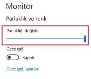 Windows 10 Ekran Parlakligi Ayari 300x260
