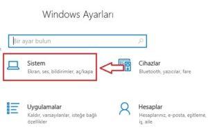 Windows Ayarlari Sistem Menusu 300x191