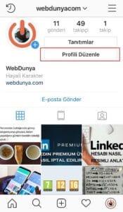 Telefondan Instagram Profil Duzenle 175x300