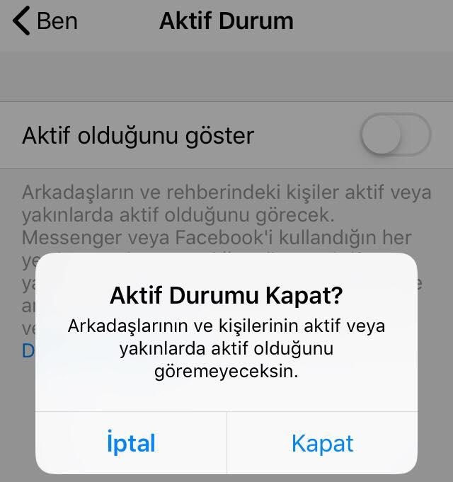 aktif durum kapat uyarisi - Facebook Messenger Aktif Durumu Kapatma