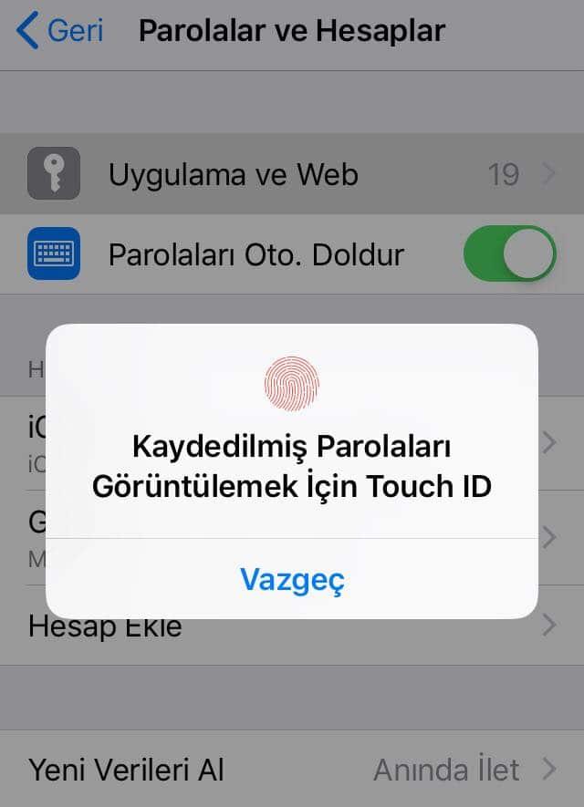 kaydedilmis parolalar icin touch id - iPhone ve iPad Kayıtlı Şifreleri Görme